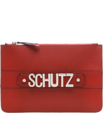 Clutch Golden Logo Scarlet   SCHUTZ