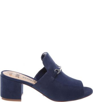 Mule Lola Block Heel Dress Blue   SCHUTZ