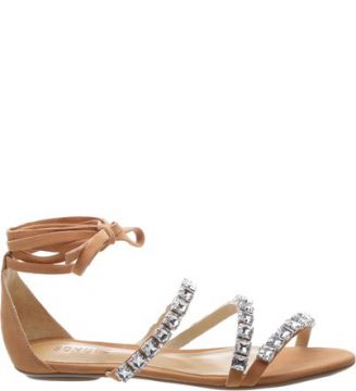 Flat Crystal lace Up Toasted Nut SCHUTZ