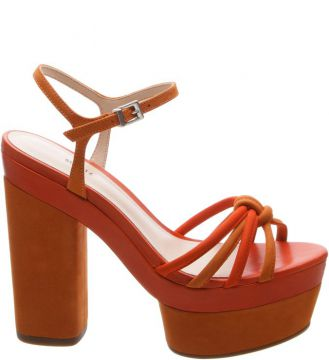 Sandália Duo Block Heel Red Orange   SCHUTZ