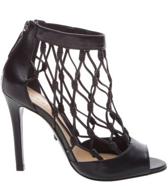 Leather Fishnet Peep Toe Black - Schutz