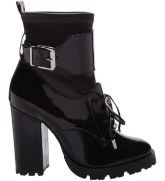 Combat Boot Stretch Verniz Black - Schutz