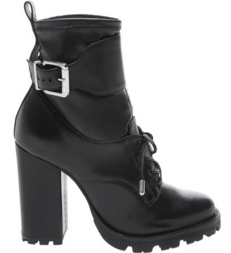 Combat Boot Leather Buckle Black - Schutz