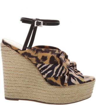 Sandália Anabela Natural Animal Print - Schutz