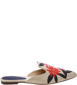 Flat Mule Bordado Tropical - Schutz