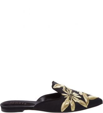 Flat Mule Bordado Tropical Black - Schutz