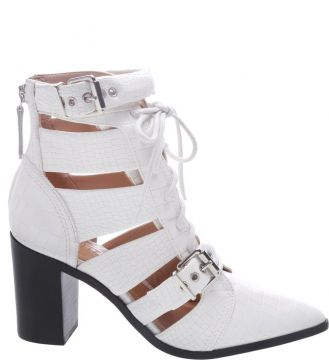 Cut Out Lace Up Boot White - Schutz