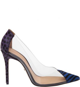 Scarpin Vinil Animal Print Blue - Schutz