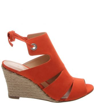 Sandália Anabela Power Nobuck Orange - Schutz
