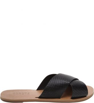 Flat Slide Cross Snake Black - Schutz