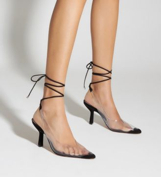 Scarpin Lace-up Vinil Clear Black - Schutz