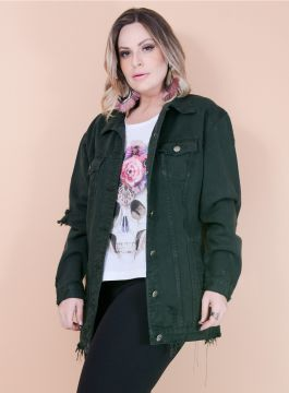 Jaqueta Jeans Oversized Destroyed Verde - Plus Size