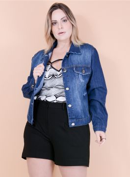 Jaqueta Jeans Destroyed - Plus Size