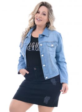 Jaqueta Jeans Attribute Clara  - Plus Size
