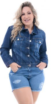Jaqueta Jeans Attribute Escura  - Plus Size