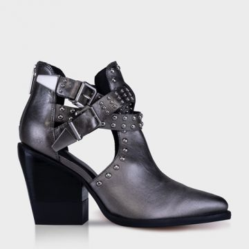 Open Ankle Boot Metalizado Pewter - Carrano
