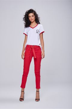 Calça Jegging Cropped Color Com Cinto - Damyller