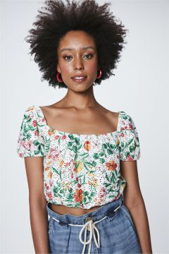 Top Cropped Com Estampa Floral - Damyller