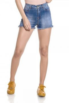 Short Jeans Feminino Pin Up Com Amassados - Dz6257  - Denim