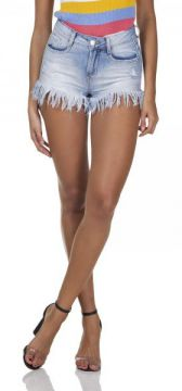 Short Jeans Feminino Young Barra Desfiada-dz6295  - Denim Ze