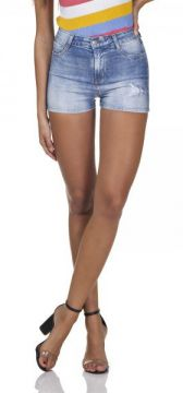 Short Jeans Feminino Pin Up Com Puídos-dz6297  - Denim Zero