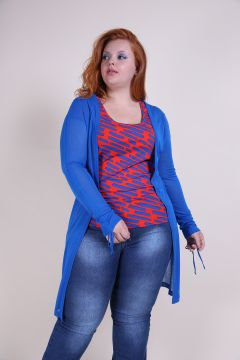 Cardigan Alongado Plus Size De Malha