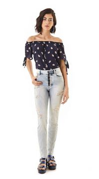 CALCA JEANS HIGH WAIST COM BOTOES NA VISTA   Zinco