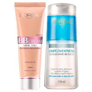 Kit BB Cream L oréal Paris - BB Cream 5 em 1 + Demaquilante