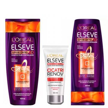 L Oréal Paris Elseve Supreme Control Kit - Shampoo + Leave-