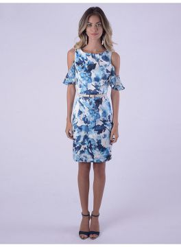VESTIDO CUT OUT SHOWLDER GRUTA AZUL - Folic