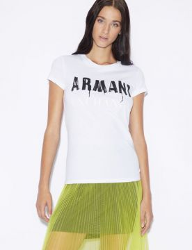 Camiseta Slim Fit Com Letras Em Grafite - Armani Exchange