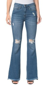 Calça Jeans Five Pockets Jeans Ckj 040 High Rise Flare - Azu
