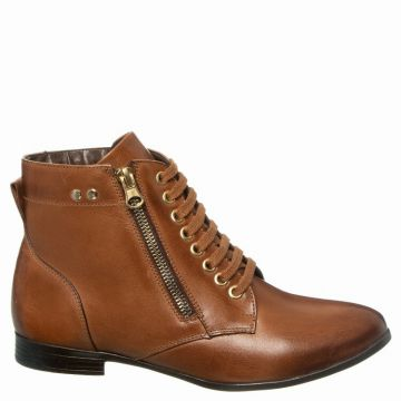 Ankle Boot Couro Caramelo Ziper Lateral - Constance