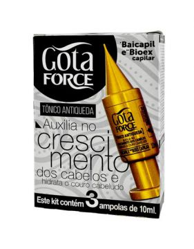 Kit Tônico Force Antiqueda Com 3 Ampolas 10ml Gota Dourada