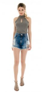 Shorts Jeans Hot Pant Patch Paz & Amor - La Mandinne