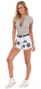 Shorts jeans hot pant patches - La Mandinne