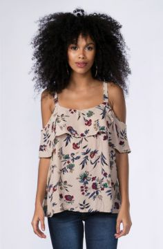 Blusa Open Shoulder Flores - Mercatto