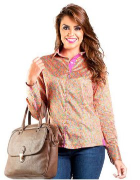 Camisa Feminina Slim Estampa Colorida Carlos Brusman