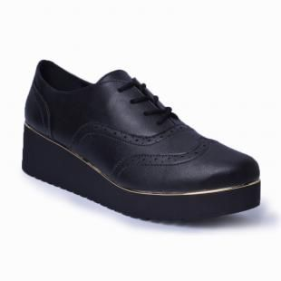 Oxford Flatform Brogue Lady Choice - Preto