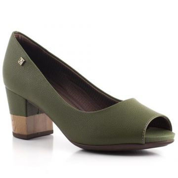 Peep Toe Salto Grosso Liso - Piccadilly