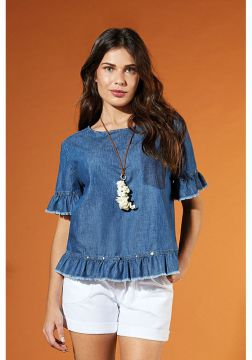 Blusa jeans bolso falso