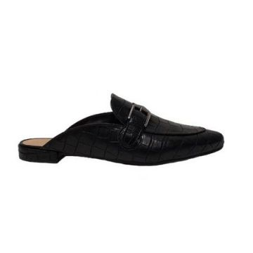 Mule Croco Fosco Black Com Fivela - Sis And Shoes