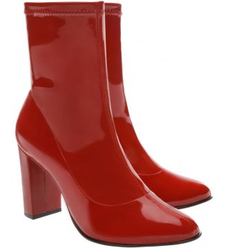 Skinny Boot Glossy Salto Bloco Alto Royal Red - Arezzo