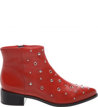 Ankle Boot Couro Metais Royal Red - Arezzo