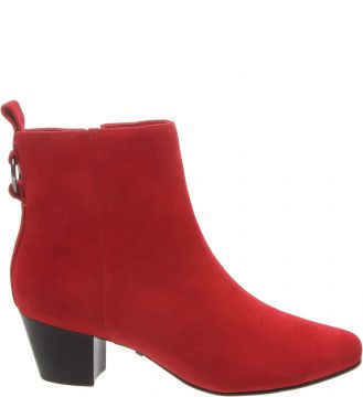 Ankle Boot Camurcina Salto Bloco Baixo Royal Red - Arezzo