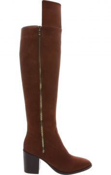 Bota Over The Knee Zíper Dourado Dark Cacau - Arezzo