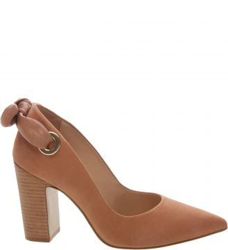 Scarpin Nobuck Bow Elos Salto Bloco Alto Natural Peach - Are