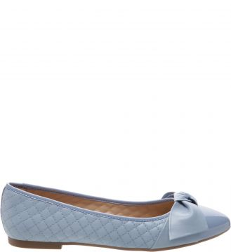 Sapatilha Matelassê Lace Up Verniz Crystal Blue - Arezzo