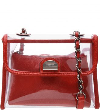 Bolsa Tiracolo Pequena Vinil Clear Perfect Red - Arezzo
