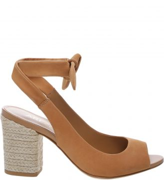 Sandália Nobuck Lace Up Salto Bloco Natural Tan - Arezzo